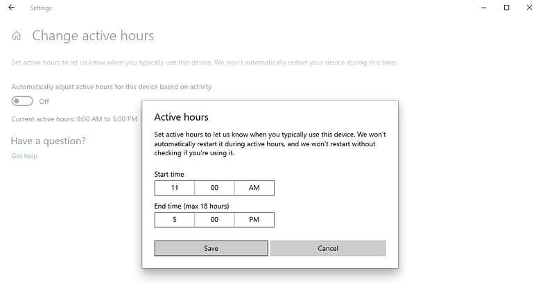 Setting active hours for Windows updates DRC Technologies