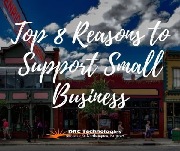 drc technologies top 8 reason to support small business with buildings in background