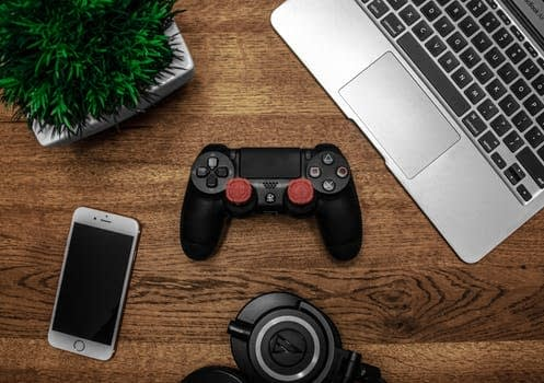 Top shot of computer phone camera and game system controller