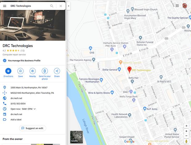 Screenshot of DRC Technologies Northampton, PA on google maps with surrounding businesses