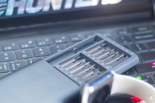 tools on a computer keyboard