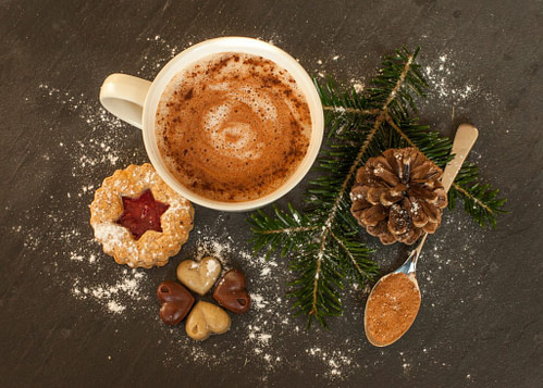Coffee christmas cookies pine branch and pinecone