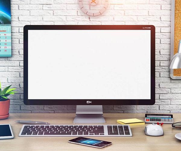 Desktop computer monitor & keyboard