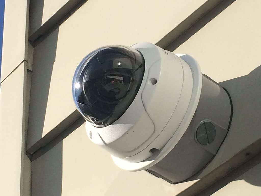security camera on building